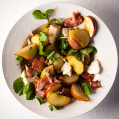 Warm buttered pear, apple and Gorgonzola salad
