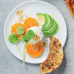 Avo-and-orange watercress salad with homemade labneh and crispy dukkah pita shards
