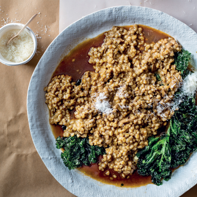 Barley risotto with beef broth and Parmesan rind