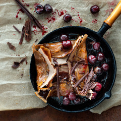 Caramelised chocolate crepes with cherry syrup