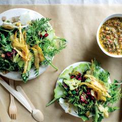 Chop-chop salad with papaya seed dressing