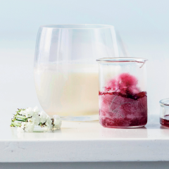 Lemon posset with red-wine snow