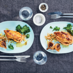Roast chicken with lemon panko breadcrumbs and kale chips