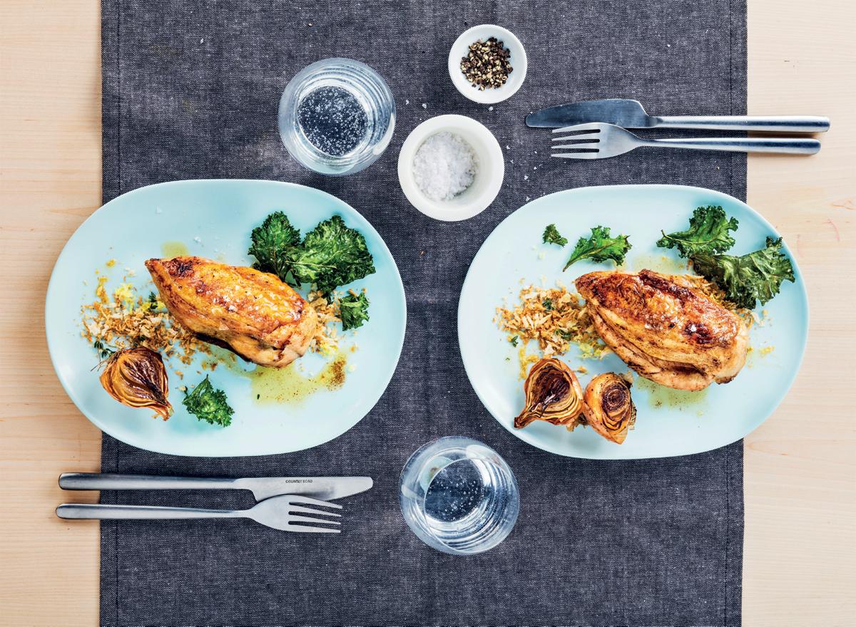 Roast chicken with lemon panko breadcrumbs and kale chips recipe