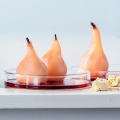Rose-and-ginger poached pears with mascarpone and crushed biscotti