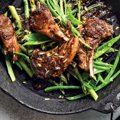 Spicy lamb chops with lemony greens