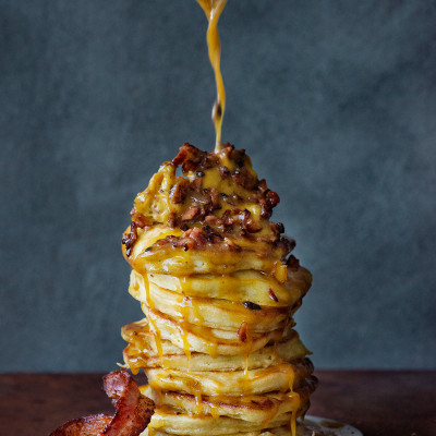 American style coconut flapjacks with whipped maple-and-bacon butter