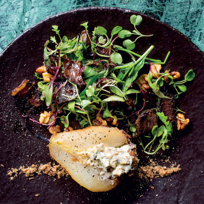 Honeybush-poached pear-and-biltong salad