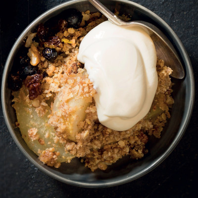 Pear-and-pecan crumble