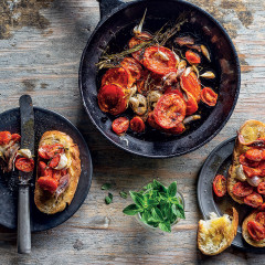 Slow poached tomatoes in garlic and anchovy oil