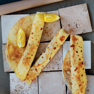 Traditional French crêpes with lemon and cinnamon sugar