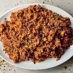 Warm lentil salad with couscous and vegetables