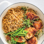 Sticky ginger chicken and crunchy greens with sesame noodles recipe
