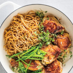 Sticky ginger chicken and crunchy greens with sesame noodles