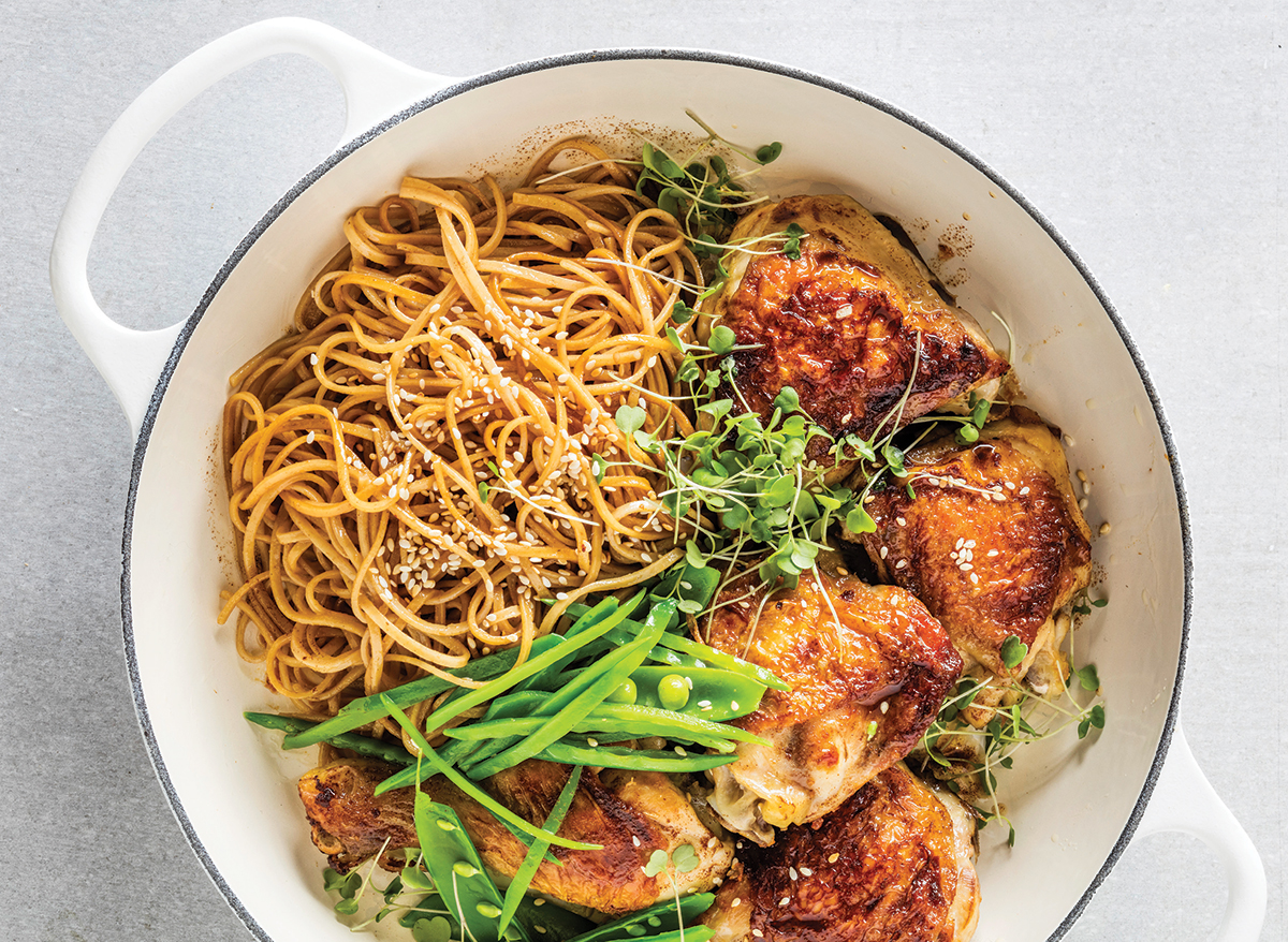 Sticky ginger chicken and crunchy greens with sesame noodles ...