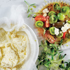 Home-made Ricotta cheese with exotic tomato salad