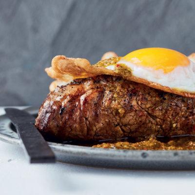 Peri-peri steak with organic fried eggs