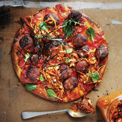 Pork meatball-and-kimchi pizza