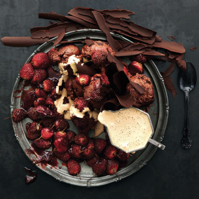 chocolate-mousse-espresso-sabayon-with-slow-roasted-strawberries-and-chocolate-shards