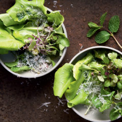 Mint-and apple-dressed garden lettuce bowls