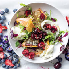 Seared trout with buffalo mozzarella, cherries and gingered honey sauce