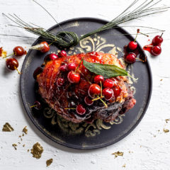 Sugared gammon with sticky cherries