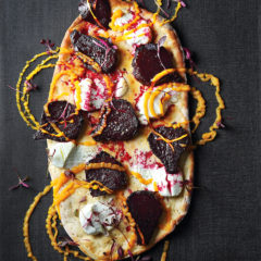 Sweet beetroot pizza with butternut purée and goat's cheese