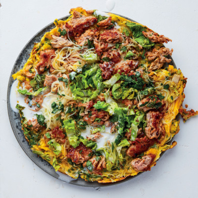 Vietnamese scrambled eggs with pork mince, lettuce and herbs