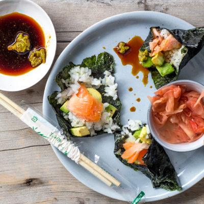 Seared tuna on avocado rice