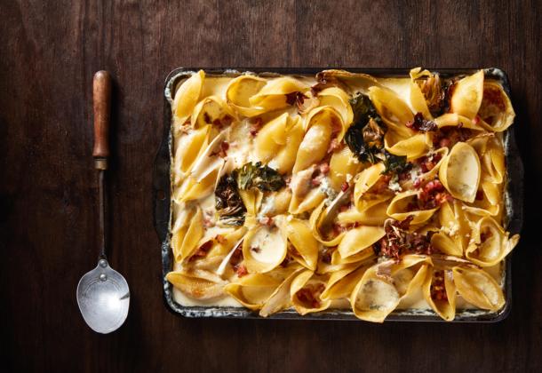 Baked conchiglie carbonara recipe