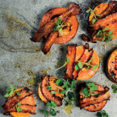 Black pepper bacon-wrapped roast butternut