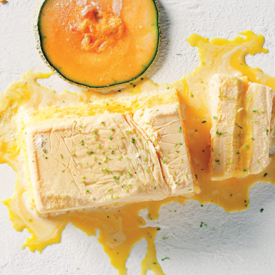 Clemengold semifreddo and melon ice cream