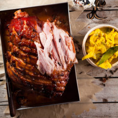 Maple-glazed gammon with cardamom-and-ginger piccalilli
