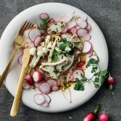 Marinated mushrooms and radishes