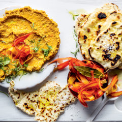 Moroccan-spiced carrot hummus with pickled carrots and flatbreads