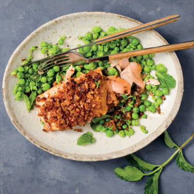 Bacon-crusted salmon with minty peas