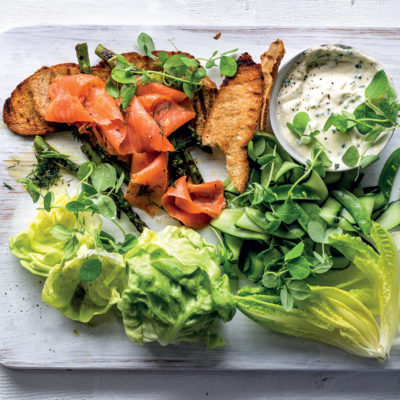 Marinated smoked trout with green salad and sour cream-and-chive dressing