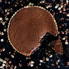 Molten chocolate and burnt caramel tart