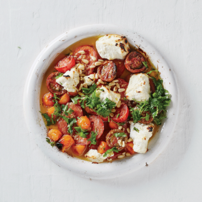 Roasted tomato sauce with ricotta and pine nuts