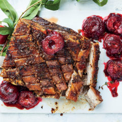Sumac pork belly with Flavourburst plums