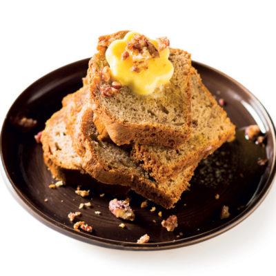 Banana bread with cinnamon-sugared pecans