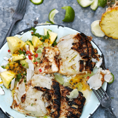 Brined hake with tangy pineapple-and-coconut salsa