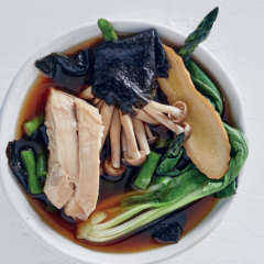 Asian poached-chicken broth