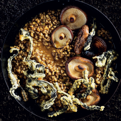 Barley risotto with buttered shiitake and crunchy seaweed bites