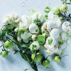 Bocconcini with cucumber juice dressing