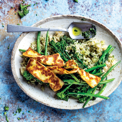 Brown rice, grilled greens and green pesto bowl