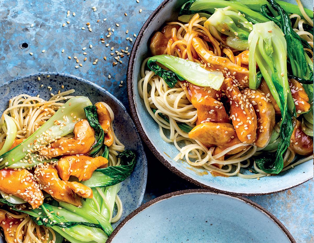 Glazed Sesame Chicken Noodles With Pak Choi Woolworths Taste