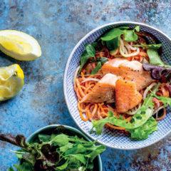 Lemon-cream trout and rainbow carrot spaghetti