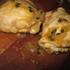 Chicken pieces steamed in Rooibos tea and Passion Fruit (Granadilla) Pulp