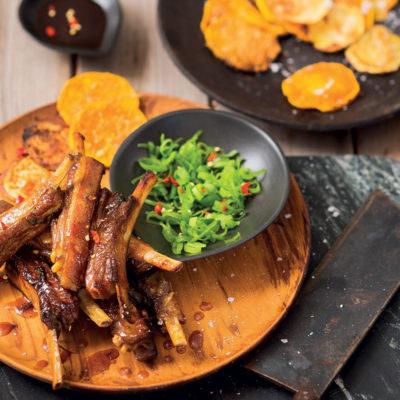 Asian-style pork ribs with butternut crisps